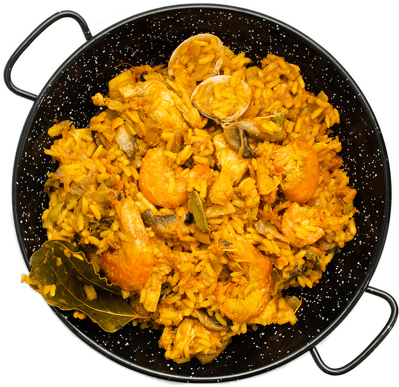 delicious-spanish-rice-in-paella-pan-on-white-background